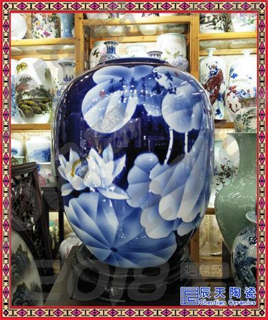 景德镇陶瓷器薄胎粉彩冬瓜花瓶山水现代家居节日装饰礼品