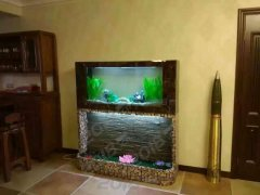 流水瀑布鱼缸 水幕墙鱼缸